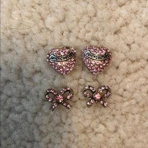 Set of 2: Pink Crystal Juicy Couture Earrings
